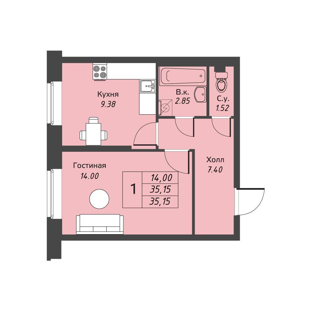 Планировка Однокомнатная квартира площадью 35.15 кв.м в ЖК «Живи! В Рыбацком»