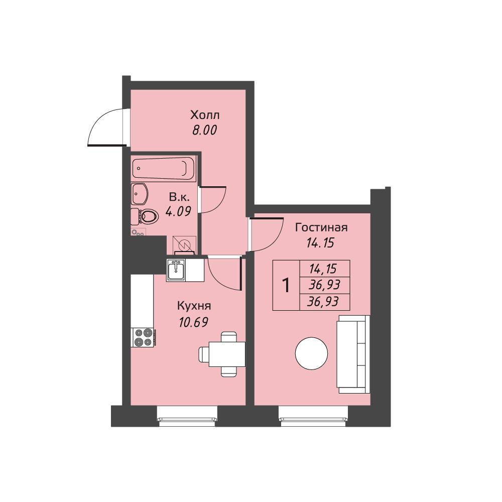 Планировка Однокомнатная квартира площадью 36.93 кв.м в ЖК «Живи! В Рыбацком»