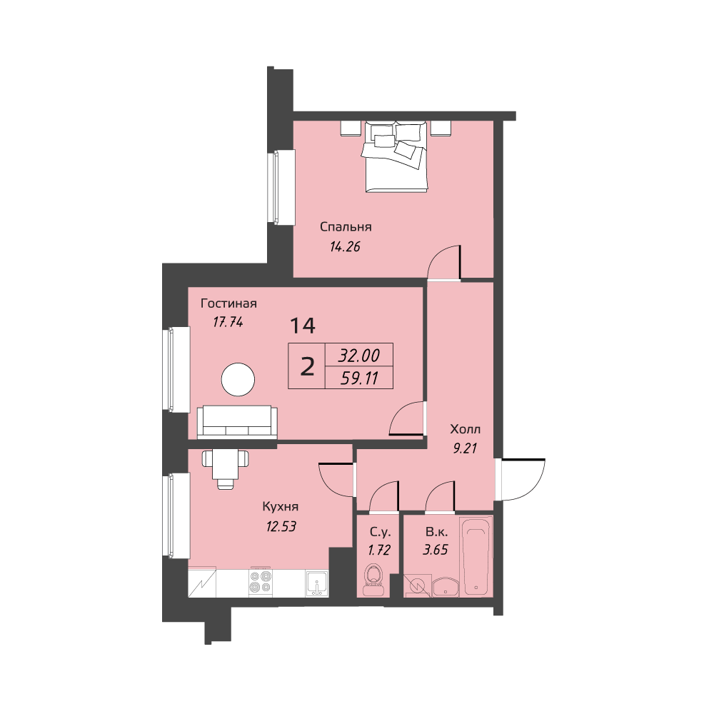 Планировка Двухкомнатная квартира площадью 59.11 кв.м в ЖК «Живи! В Рыбацком»