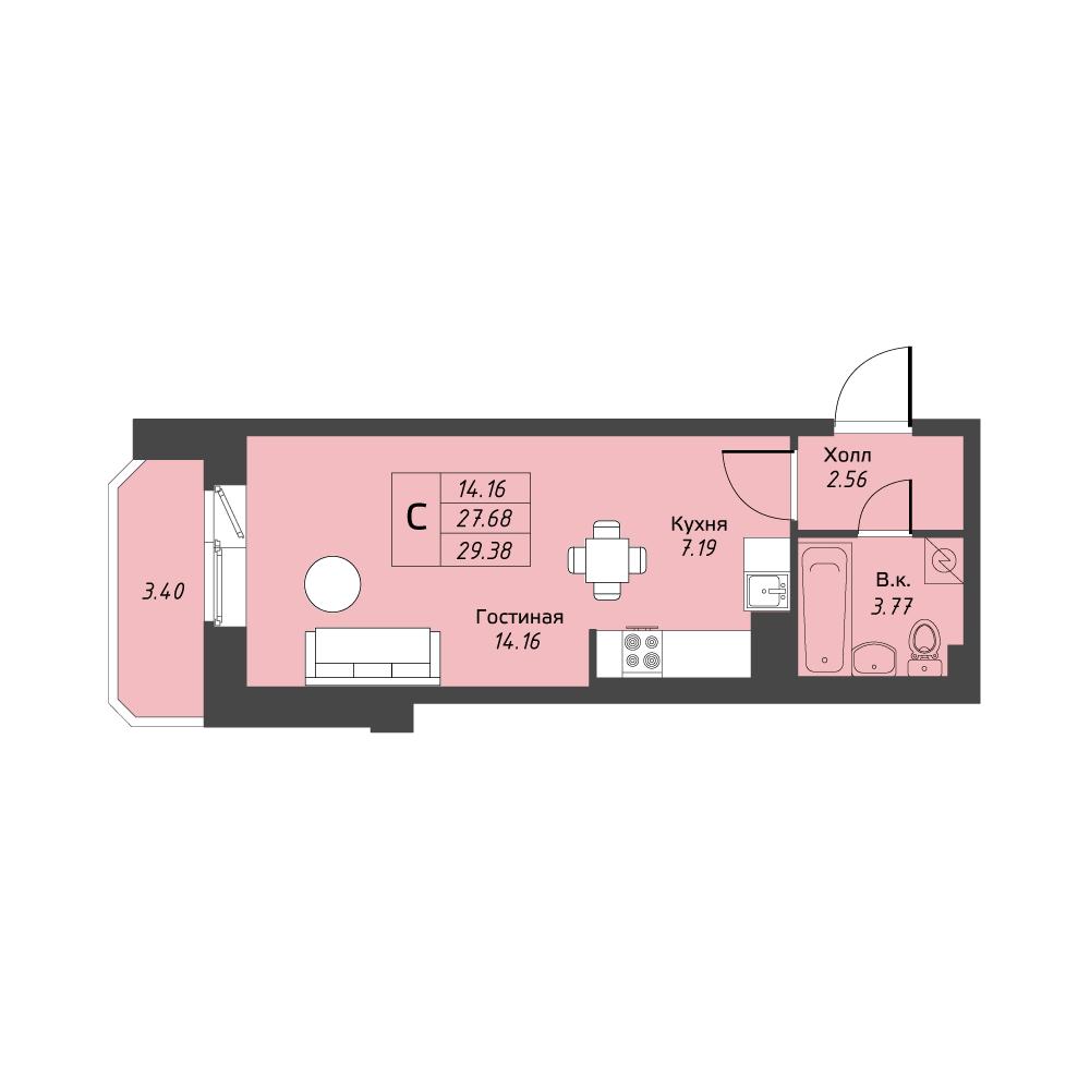Планировка Студия площадью 29.38 кв.м в ЖК «Живи! В Рыбацком»