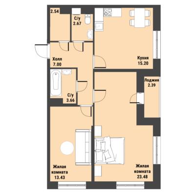 Планировка Двухкомнатная квартира площадью 68.7 кв.м в ЖК «Живи! В Рыбацком»
