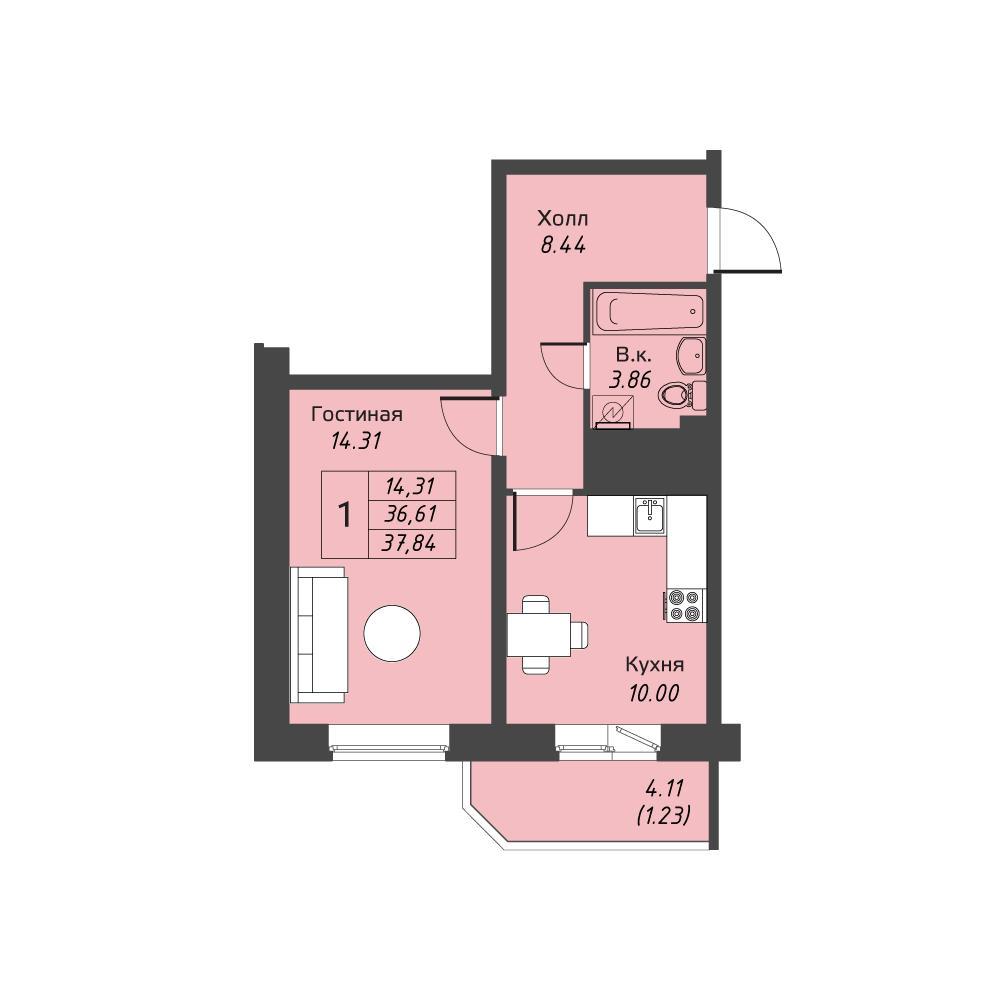 Планировка Однокомнатная квартира площадью 37.84 кв.м в ЖК «Живи! В Рыбацком»