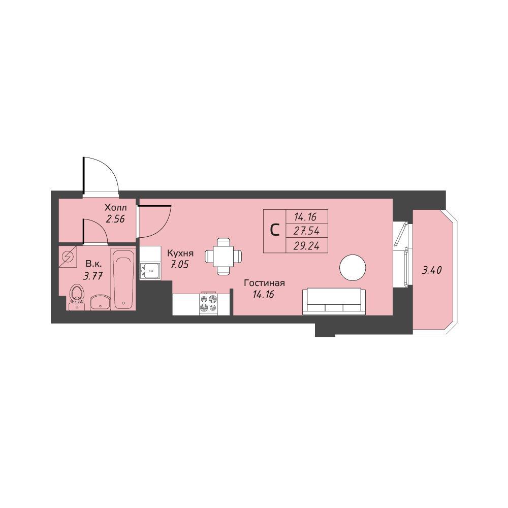Планировка Студия площадью 29.24 кв.м в ЖК «Живи! В Рыбацком»