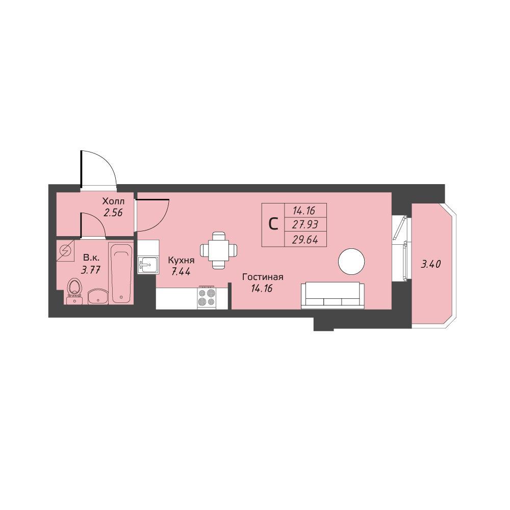 Планировка Студия площадью 29.63 кв.м в ЖК «Живи! В Рыбацком»