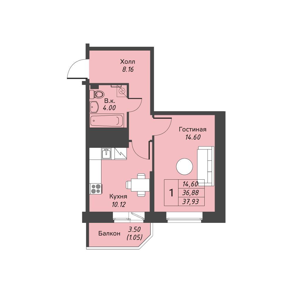 Планировка Однокомнатная квартира площадью 37.93 кв.м в ЖК «Живи! В Рыбацком»