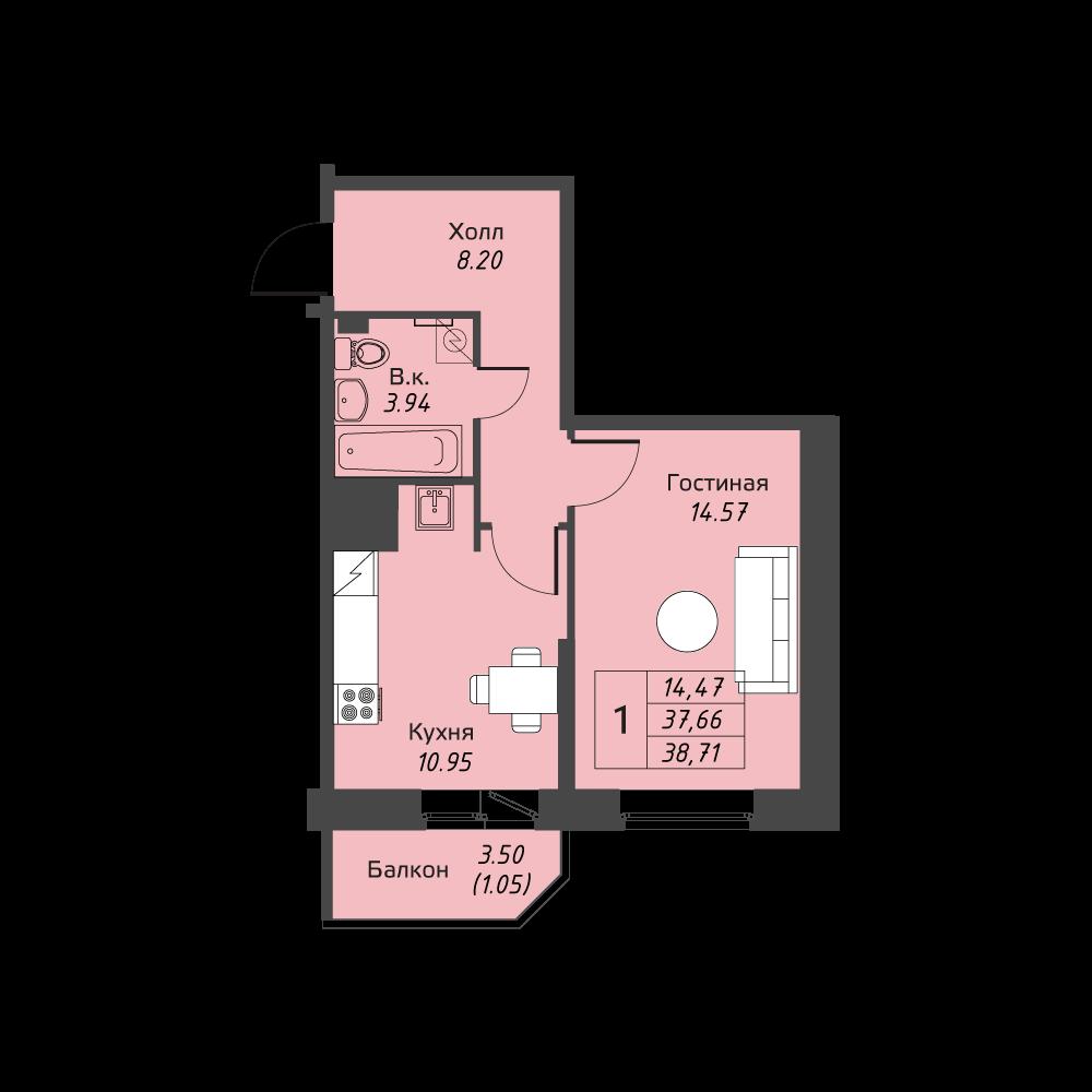 Планировка Однокомнатная квартира площадью 38.71 кв.м в ЖК «Живи! В Рыбацком»