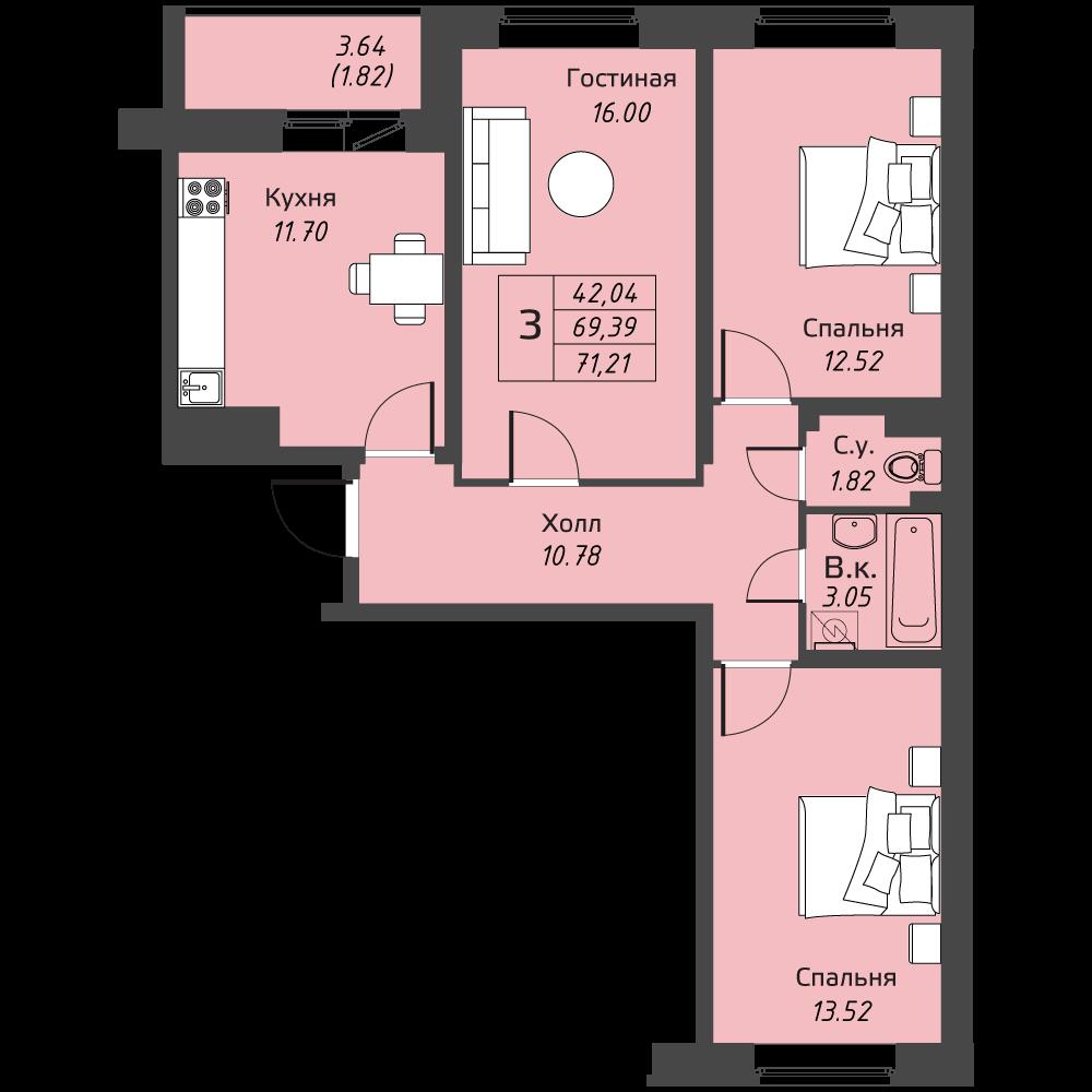 Планировка Трёхкомнатная квартира площадью 71.21 кв.м в ЖК «Живи! В Рыбацком»
