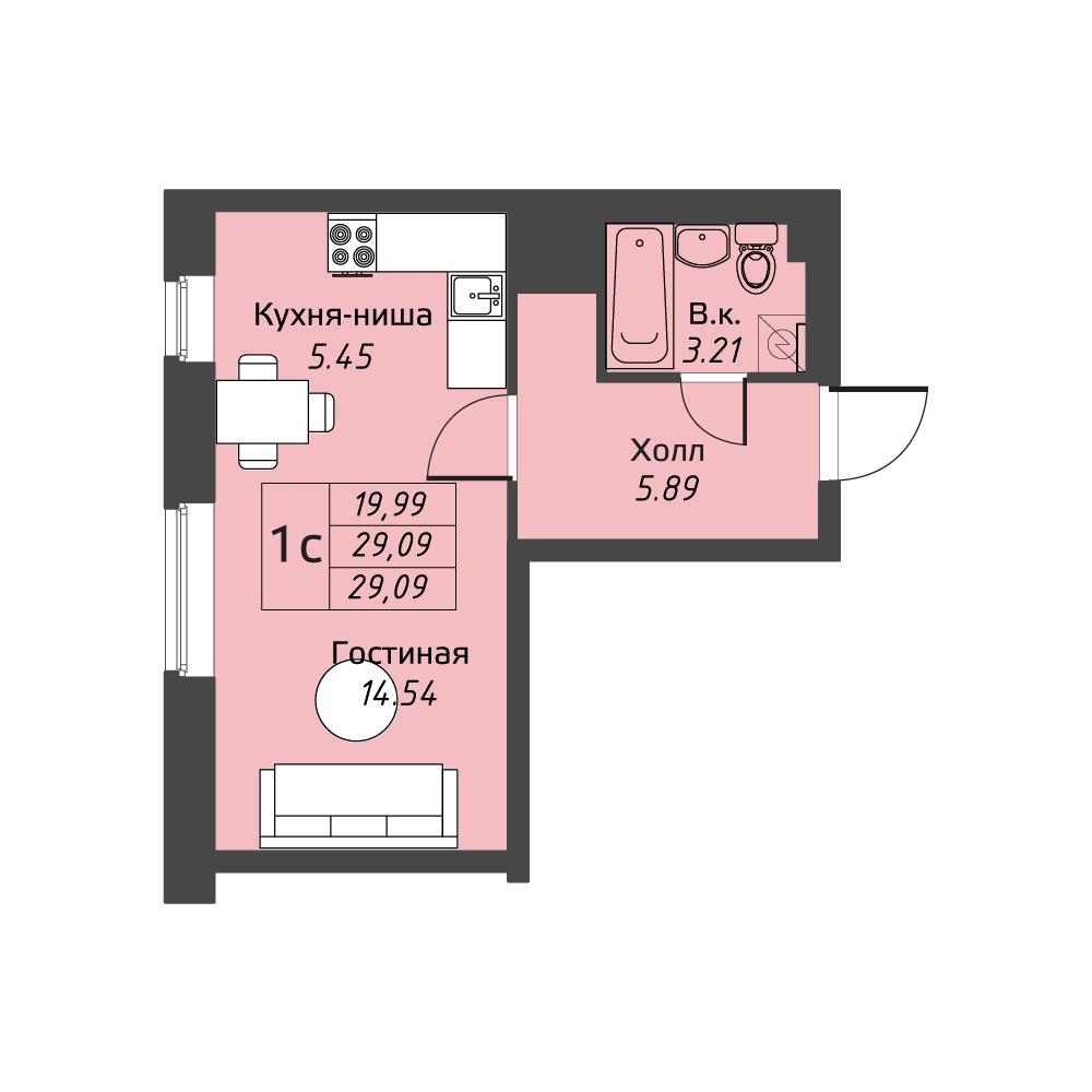 Планировка Двухкомнатная квартира площадью 55.07 кв.м в ЖК «Живи! В Рыбацком»