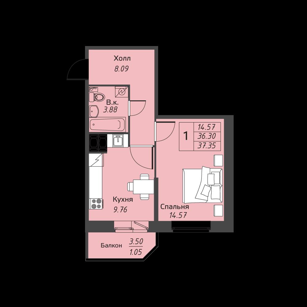 Планировка Однокомнатная квартира площадью 37.35 кв.м в ЖК «Живи! В Рыбацком»